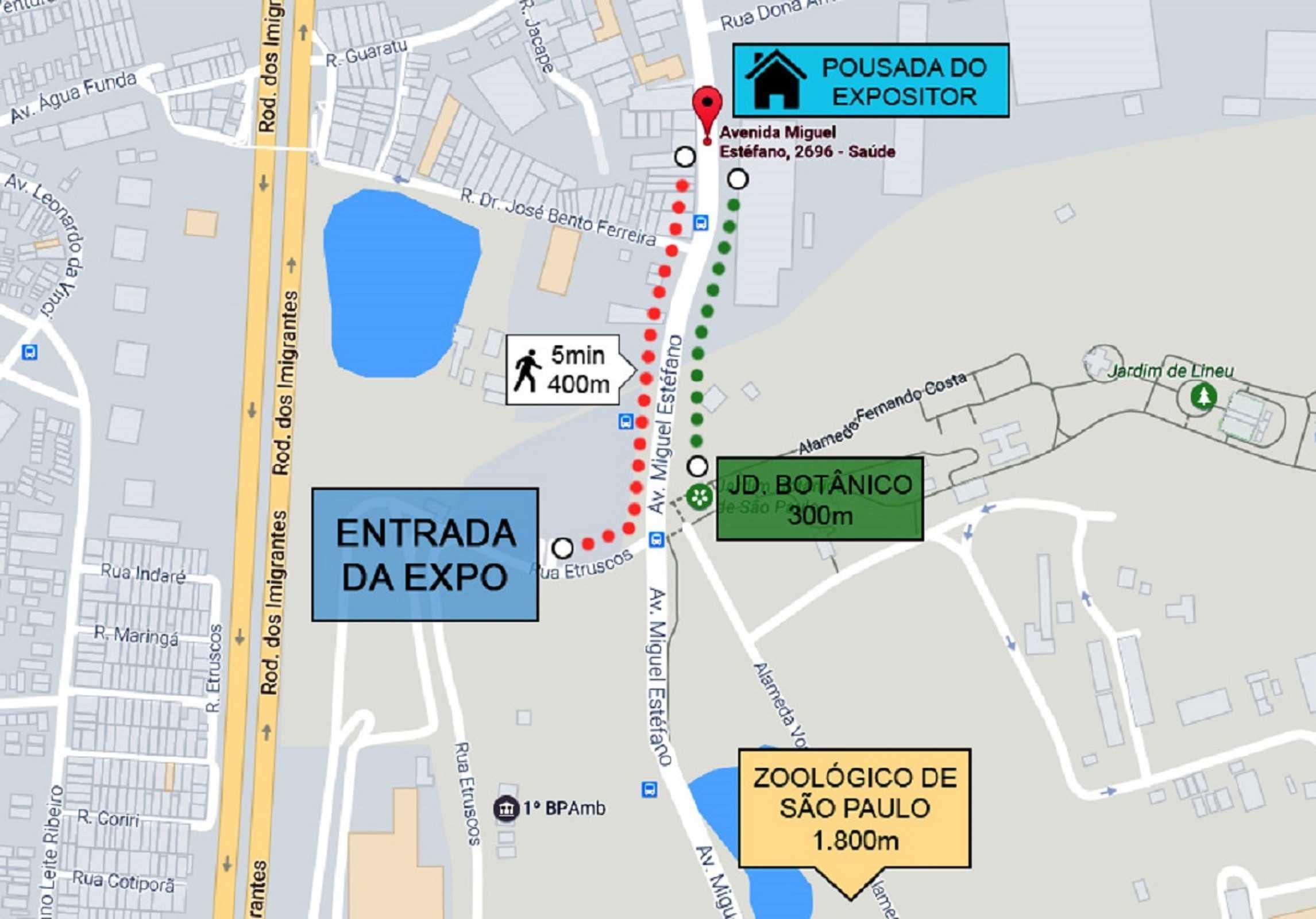 localizaçao Pousada x SP Expo